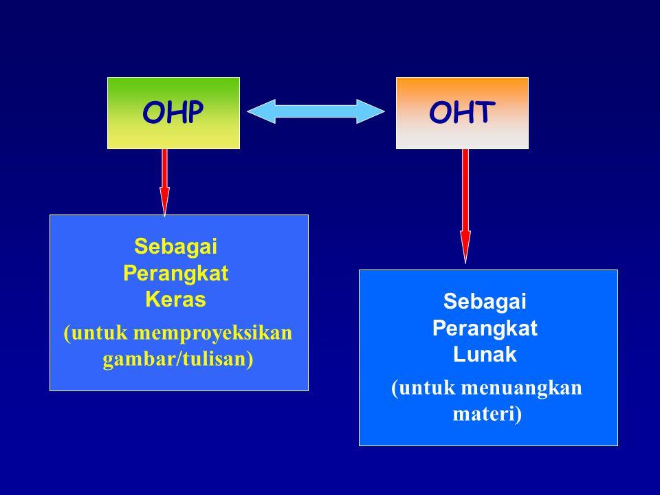 OHPOHT Sebagai Perangkat Keras (untuk memproyeksikan gambar/tulisan) Sebagai Perangkat Lunak (untuk menuangkan materi)