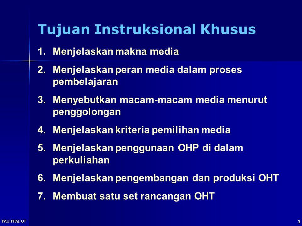 PAU-PPAI-UT 4 Makna Media Segala sesuatu yang dapat menyalurkan informasi dari sumber informasi ke penerima informasi
