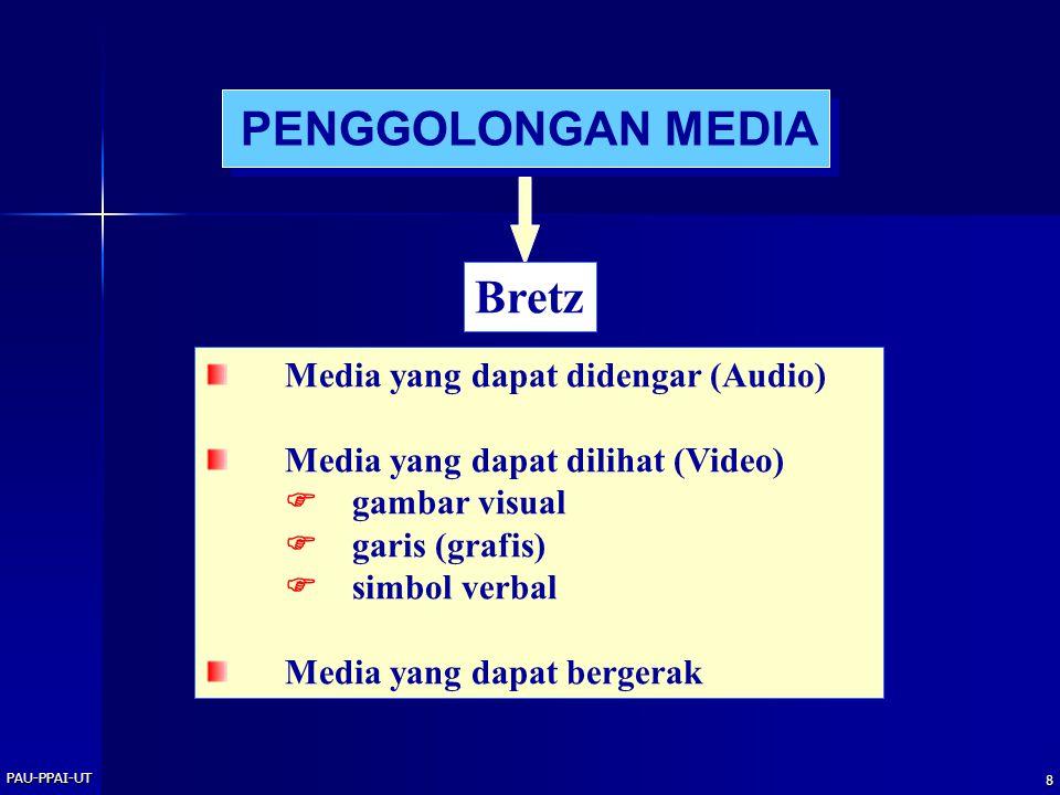 PAU-PPAI-UT 8 PENGGOLONGAN MEDIA Bretz Media yang dapat didengar (Audio) Media yang dapat dilihat (Video)  gambar visual  garis (grafis)  simbol verbal Media yang dapat bergerak
