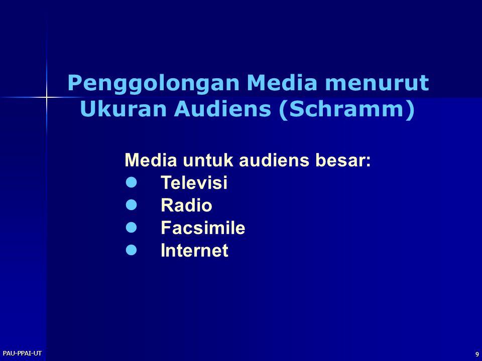PAU-PPAI-UT 9 Media untuk audiens besar: Televisi Radio Facsimile Internet Penggolongan Media menurut Ukuran Audiens (Schramm)