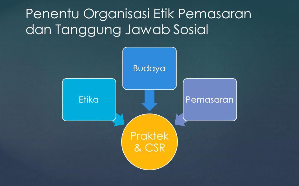 Praktek & CSR EtikaBudayaPemasaran Penentu Organisasi Etik Pemasaran dan Tanggung Jawab Sosial