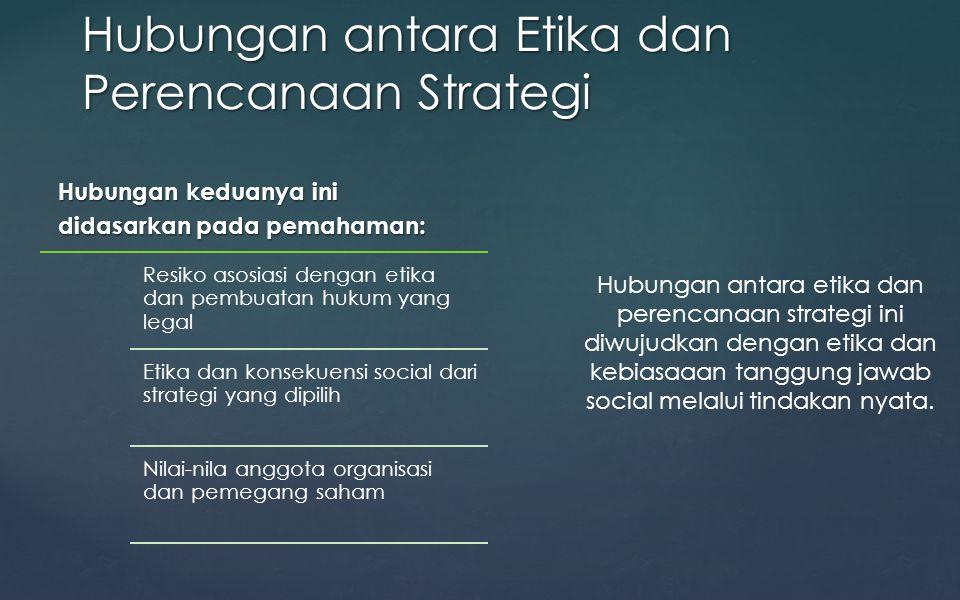 Hubungan keduanya ini didasarkan pada pemahaman: Resiko asosiasi dengan etika dan pembuatan hukum yang legal Etika dan konsekuensi social dari strateg
