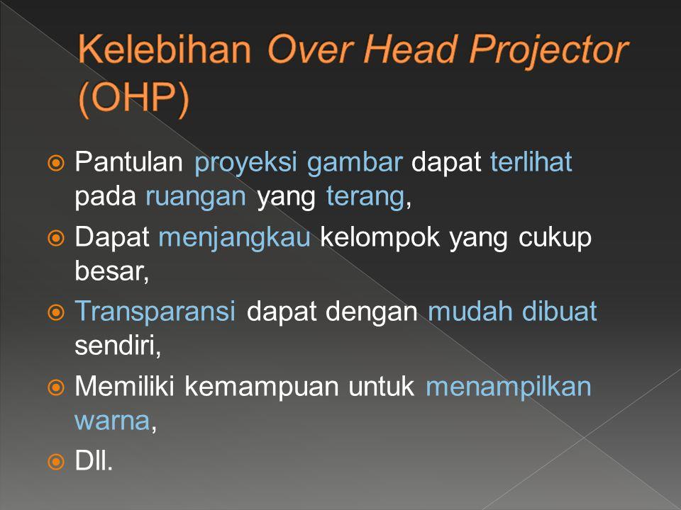  Fasilitas Over Head Projector (OHP) harus tersedia,  Listrik pada ruang/lokasi penyajian harus tersedia,  Tanpa layar yang dapat dimiringkan sulit untuk mengatasi distorsi tayangan yang berbentuk trapesium (keystoning),  Harus memiliki teknik khusus untuk pengaturan urutan baik dalam hal penyajian.