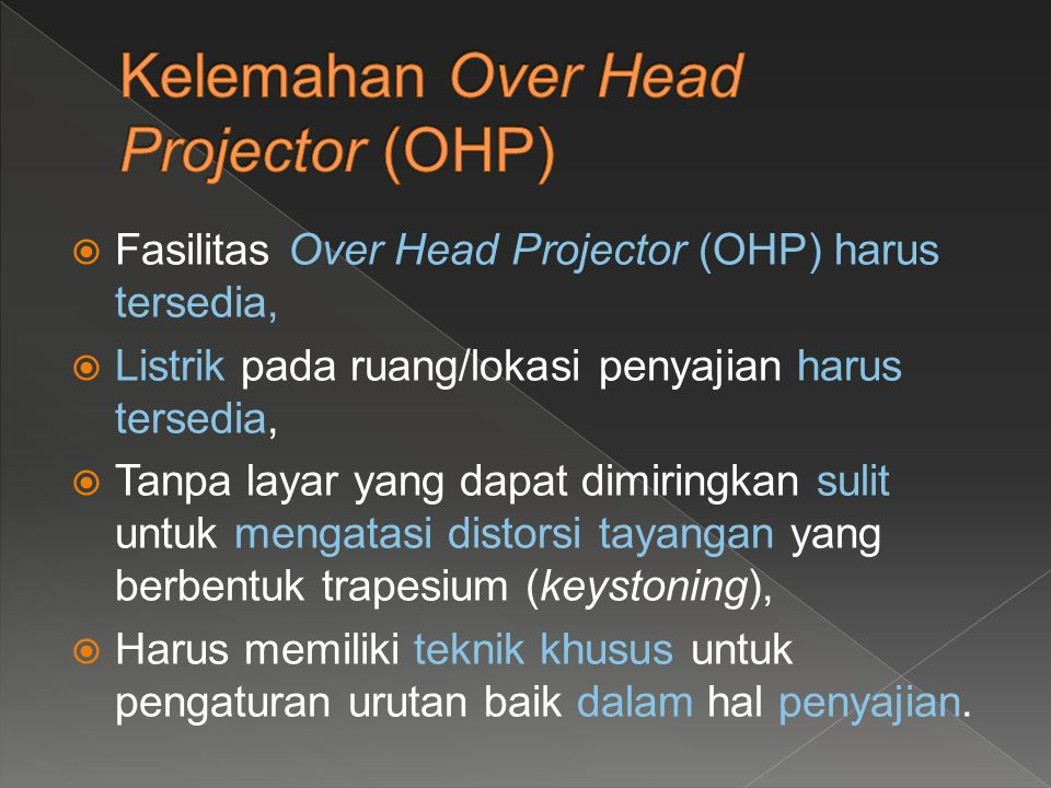  Letakkan transparansi dengan tepat pada saat lampu Over Head Projector (OHP) dimatikan;  Nyalakan Over Head Projector (OHP) dengan menekan tombol ON;  Setelah Over Head Projector (OHP) menyala, atur fokus pencahayaan;  Atur refleksi lensa;
