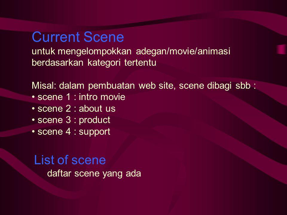 Current Scene untuk mengelompokkan adegan/movie/animasi berdasarkan kategori tertentu Misal: dalam pembuatan web site, scene dibagi sbb : scene 1 : intro movie scene 2 : about us scene 3 : product scene 4 : support List of scene daftar scene yang ada