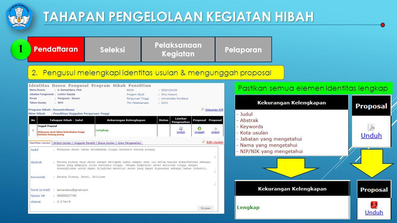 TAHAPAN PENGELOLAAN KEGIATAN HIBAH 2.Pengusul melengkapi identitas usulan & mengunggah proposal Pendaftaran 1 Seleksi Pelaksanaan Kegiatan Pelaporan Pastikan semua elemen identitas lengkap
