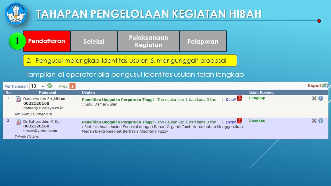 TAHAPAN PENGELOLAAN KEGIATAN HIBAH 2.Pengusul melengkapi identitas usulan & mengunggah proposal Pendaftaran 1 Seleksi Pelaksanaan Kegiatan Pelaporan Tampilan di operator bila pengusul identitas usulan telah lengkap