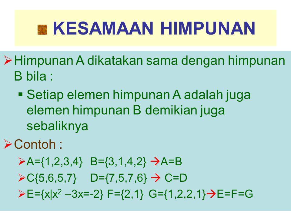 KESAMAAN HIMPUNAN  Himpunan A dikatakan sama dengan himpunan B bila :  Setiap elemen himpunan A adalah juga elemen himpunan B demikian juga sebalikn