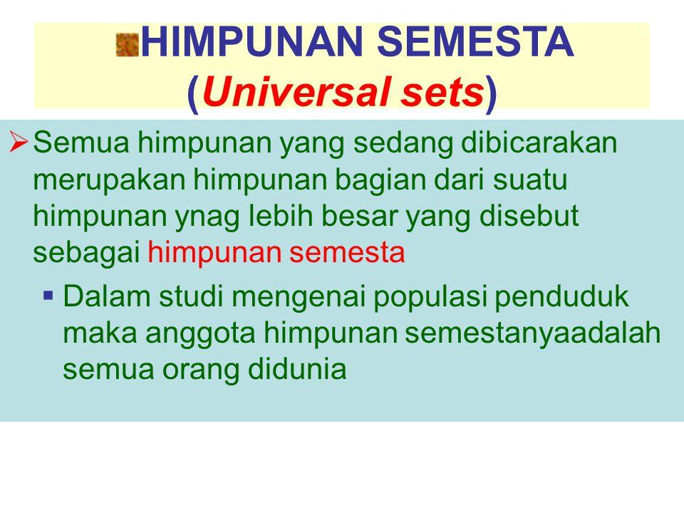 HIMPUNAN SEMESTA (Universal sets)  Semua himpunan yang sedang dibicarakan merupakan himpunan bagian dari suatu himpunan ynag lebih besar yang disebut