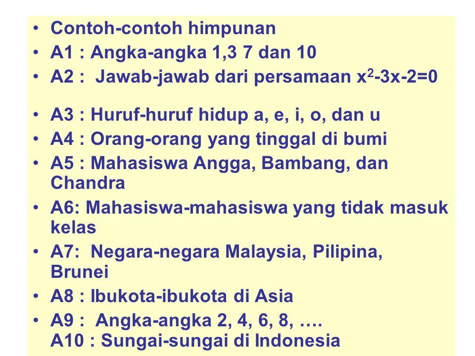 Contoh-contoh himpunan A1 : Angka-angka 1,3 7 dan 10 A2 : Jawab-jawab dari persamaan x 2 -3x-2=0 A3 : Huruf-huruf hidup a, e, i, o, dan u A4 : Orang-o