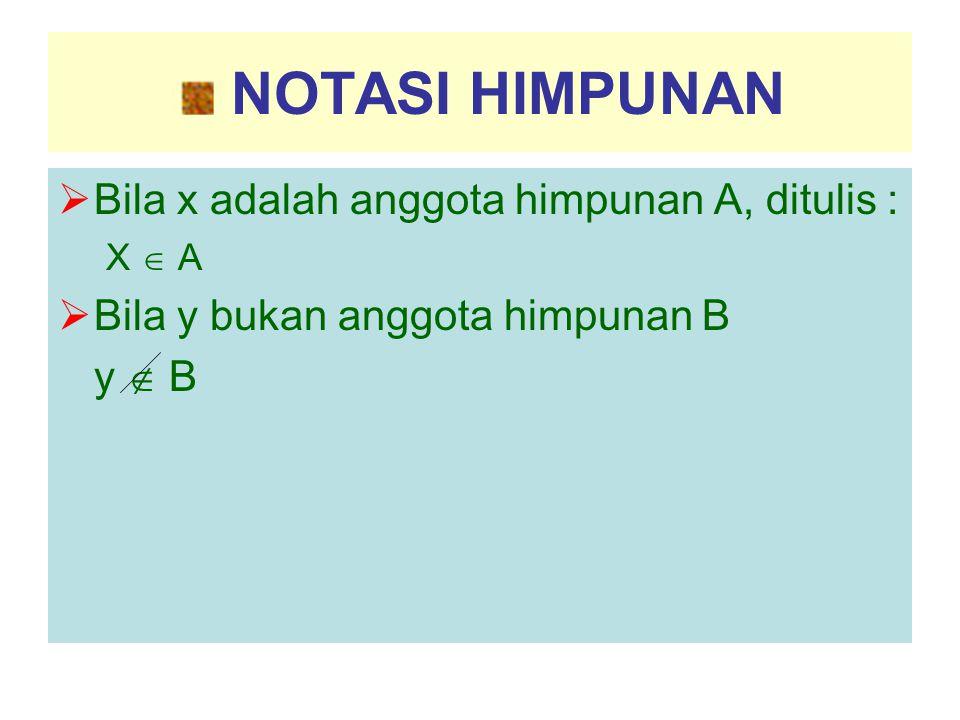 NOTASI HIMPUNAN  Bila x adalah anggota himpunan A, ditulis : X  A  Bila y bukan anggota himpunan B y  B