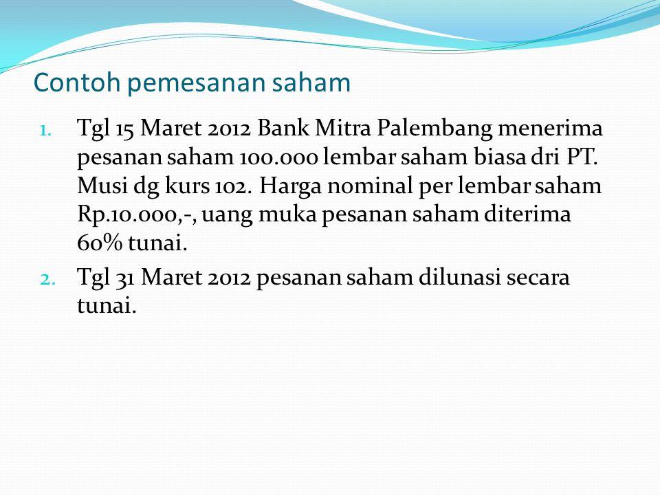 Contoh pemesanan saham 1. Tgl 15 Maret 2012 Bank Mitra Palembang menerima pesanan saham 100.000 lembar saham biasa dri PT. Musi dg kurs 102. Harga nom