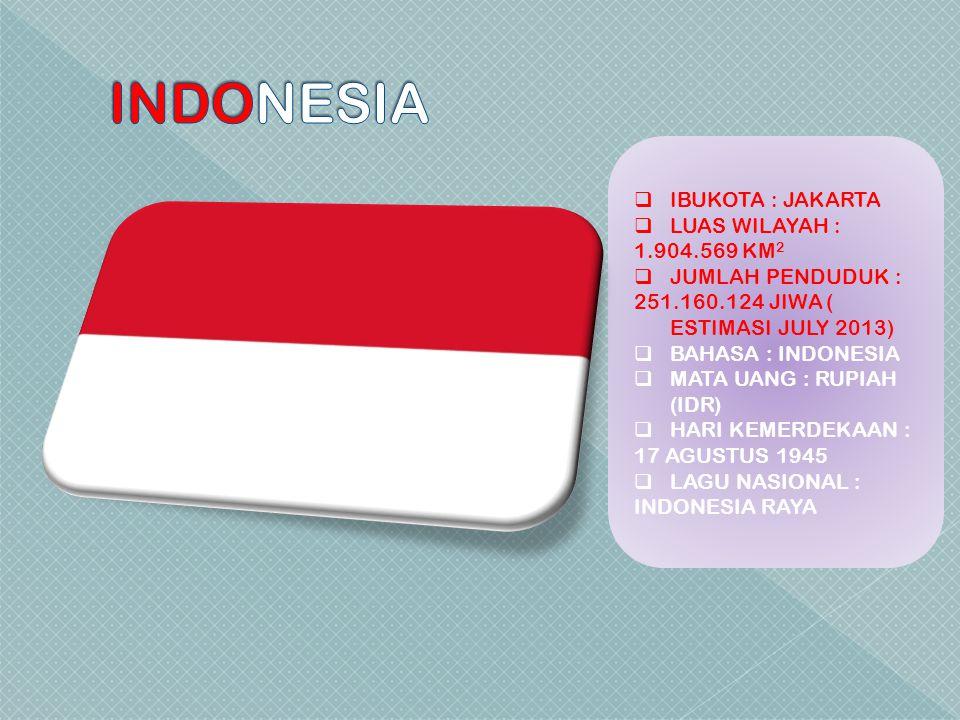  IBUKOTA : JAKARTA  LUAS WILAYAH : 1.904.569 KM 2  JUMLAH PENDUDUK : 251.160.124 JIWA ( ESTIMASI JULY 2013)  BAHASA : INDONESIA  MATA UANG : RUPI