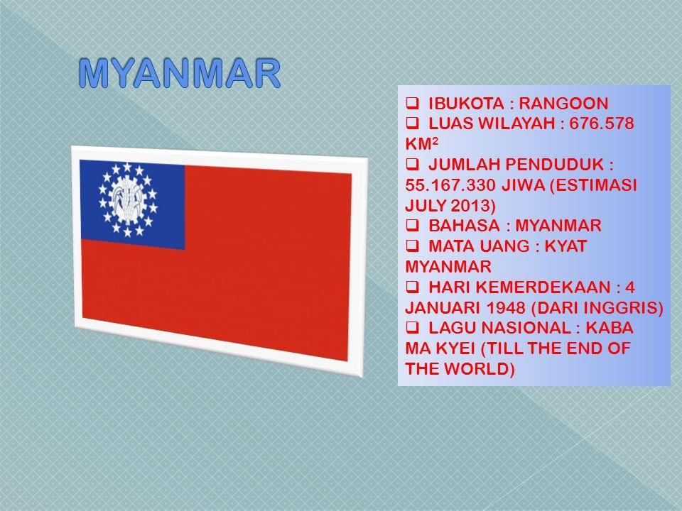  IBUKOTA : RANGOON  LUAS WILAYAH : 676.578 KM 2  JUMLAH PENDUDUK : 55.167.330 JIWA (ESTIMASI JULY 2013)  BAHASA : MYANMAR  MATA UANG : KYAT MYANM