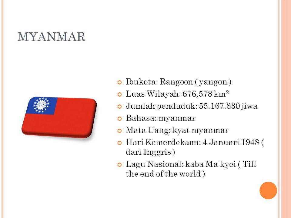 MYANMAR Ibukota: Rangoon ( yangon ) Luas Wilayah: 676,578 km 2 Jumlah penduduk: 55.167.330 jiwa Bahasa: myanmar Mata Uang: kyat myanmar Hari Kemerdeka