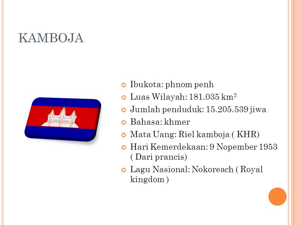 KAMBOJA Ibukota: phnom penh Luas Wilayah: 181.035 km 2 Jumlah penduduk: 15.205.539 jiwa Bahasa: khmer Mata Uang: Riel kamboja ( KHR) Hari Kemerdekaan: