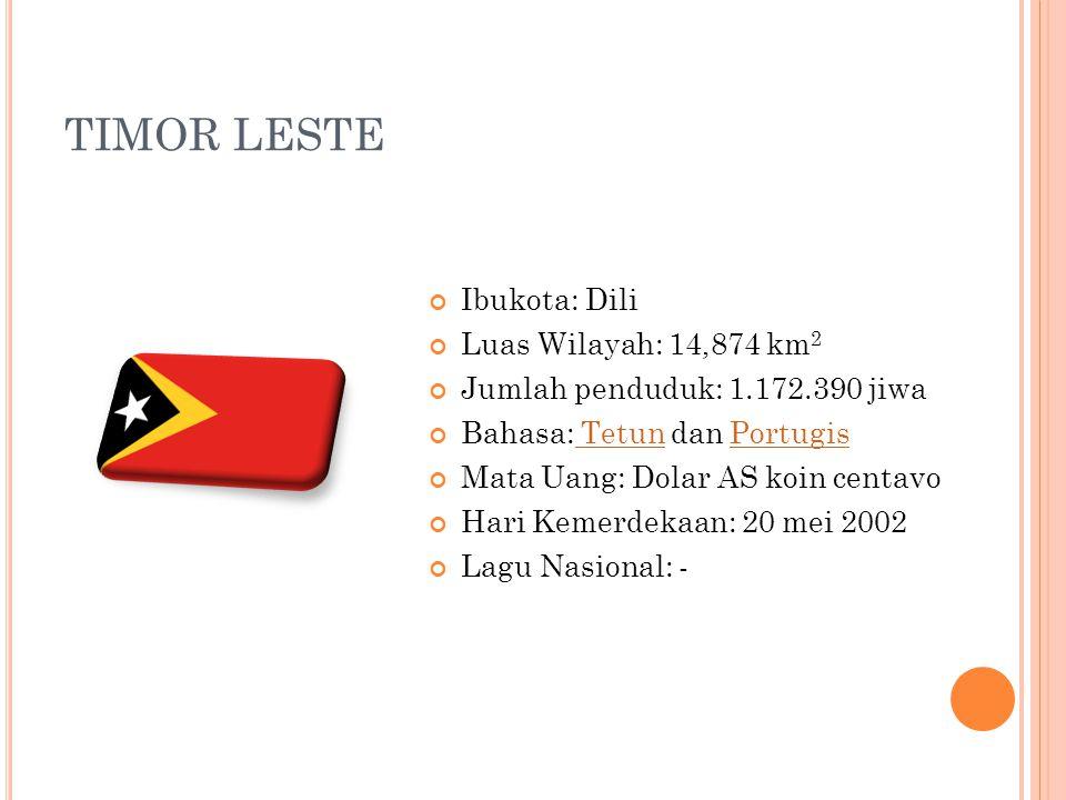 TIMOR LESTE Ibukota: Dili Luas Wilayah: 14,874 km 2 Jumlah penduduk: 1.172.390 jiwa Bahasa: Tetun dan Portugis TetunPortugis Mata Uang: Dolar AS koin