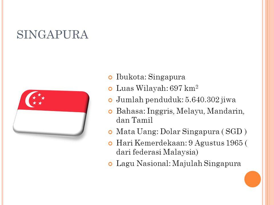 SINGAPURA Ibukota: Singapura Luas Wilayah: 697 km 2 Jumlah penduduk: 5.640.302 jiwa Bahasa: Inggris, Melayu, Mandarin, dan Tamil Mata Uang: Dolar Sing