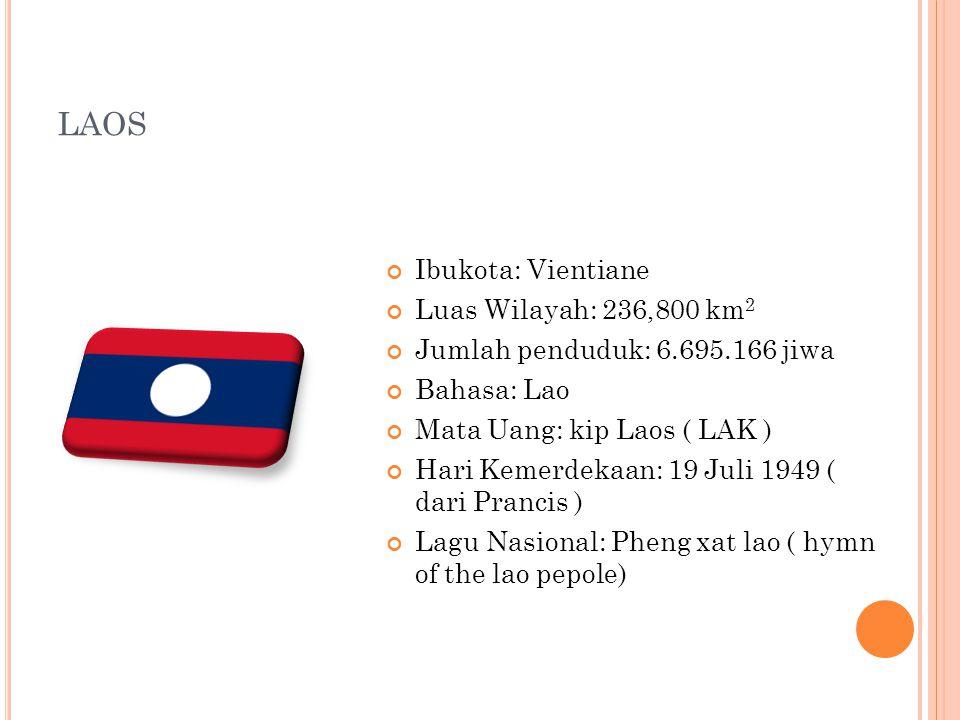 LAOS Ibukota: Vientiane Luas Wilayah: 236,800 km 2 Jumlah penduduk: 6.695.166 jiwa Bahasa: Lao Mata Uang: kip Laos ( LAK ) Hari Kemerdekaan: 19 Juli 1