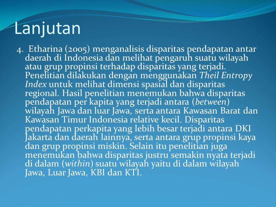 Lanjutan 4. Etharina (2005) menganalisis disparitas pendapatan antar daerah di Indonesia dan melihat pengaruh suatu wilayah atau grup propinsi terhada
