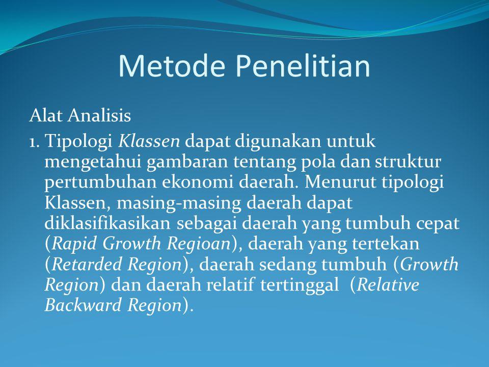 Metode Penelitian Alat Analisis 1. Tipologi Klassen dapat digunakan untuk mengetahui gambaran tentang pola dan struktur pertumbuhan ekonomi daerah. Me