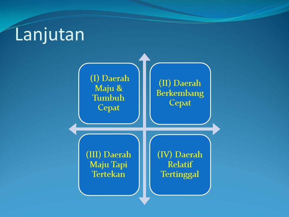 Lanjutan (I) Daerah Maju & Tumbuh Cepat (II) Daerah Berkembang Cepat (III) Daerah Maju Tapi Tertekan (IV) Daerah Relatif Tertinggal