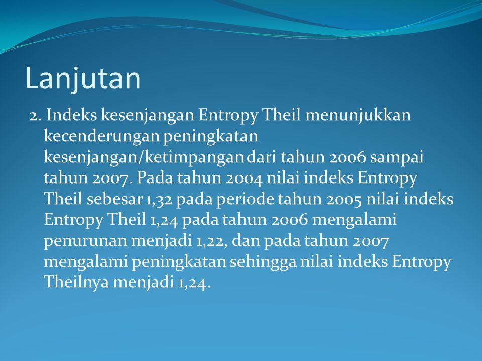 Lanjutan 2. Indeks kesenjangan Entropy Theil menunjukkan kecenderungan peningkatan kesenjangan/ketimpangan dari tahun 2006 sampai tahun 2007. Pada tah