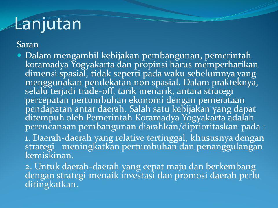 Lanjutan Saran Dalam mengambil kebijakan pembangunan, pemerintah kotamadya Yogyakarta dan propinsi harus memperhatikan dimensi spasial, tidak seperti