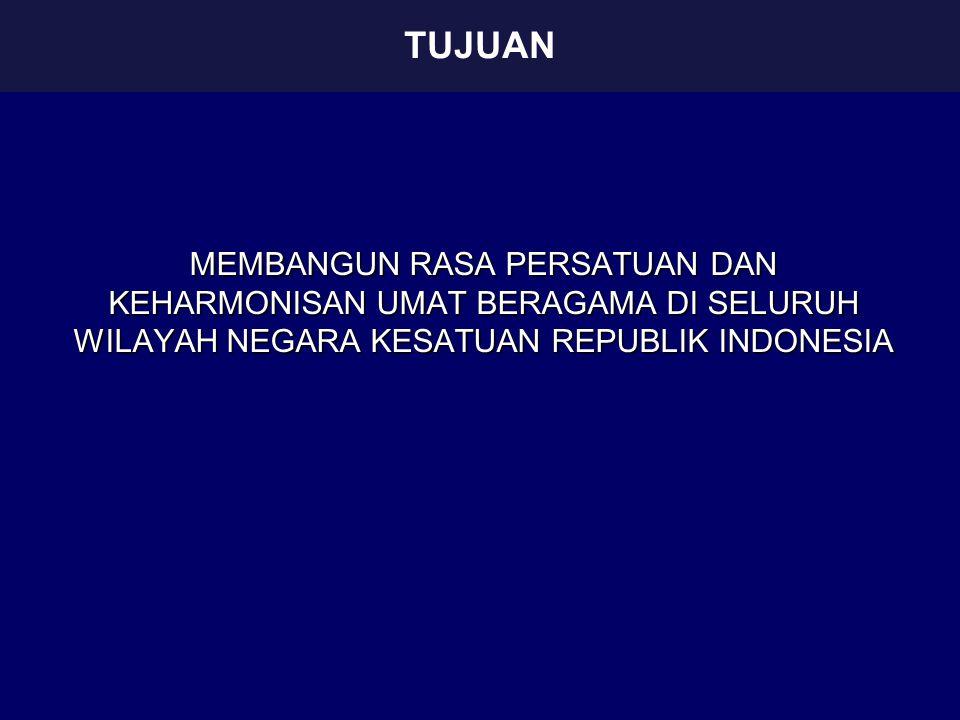 MEMBANGUN RASA PERSATUAN DAN KEHARMONISAN UMAT BERAGAMA DI SELURUH WILAYAH NEGARA KESATUAN REPUBLIK INDONESIA TUJUAN