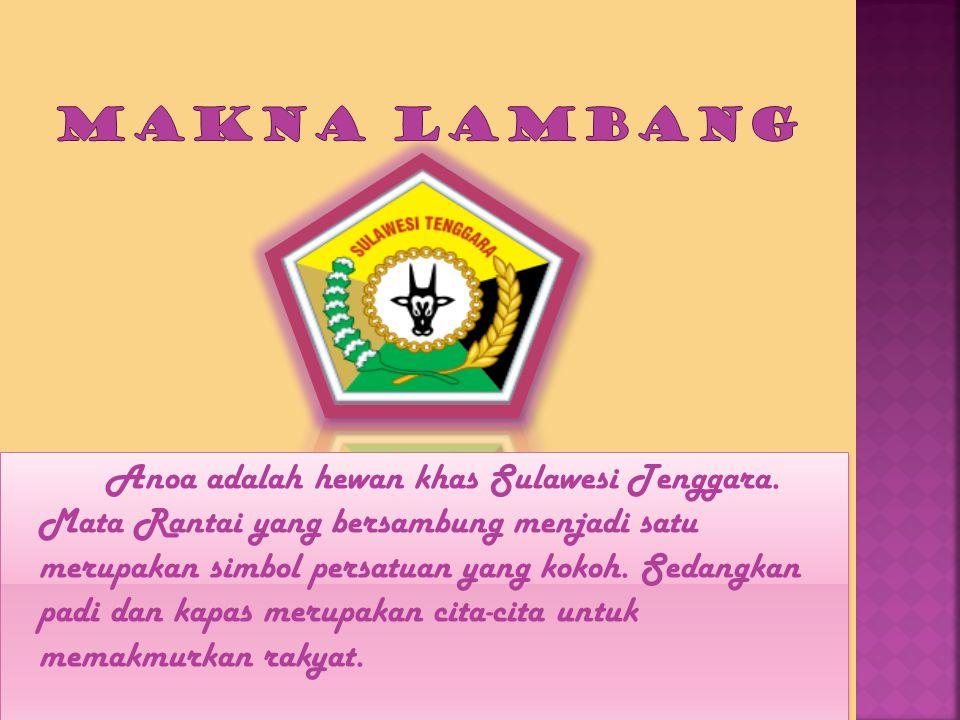 Anoa adalah hewan khas Sulawesi Tenggara. Mata Rantai yang bersambung menjadi satu merupakan simbol persatuan yang kokoh. Sedangkan padi dan kapas mer