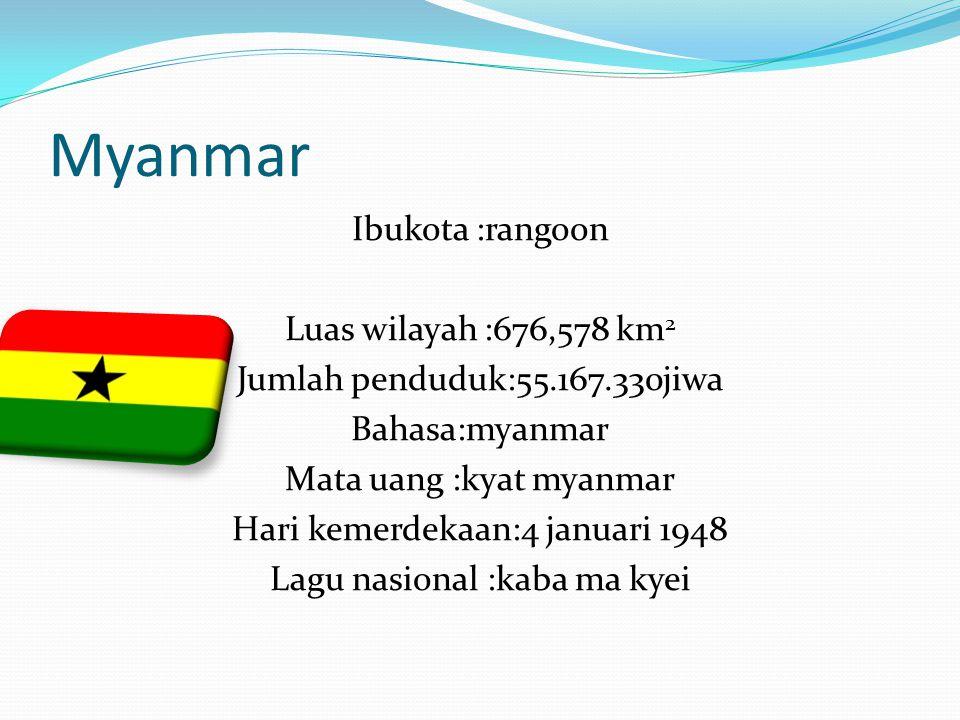 Myanmar Ibukota :rangoon Luas wilayah :676,578 km 2 Jumlah penduduk:55.167.330jiwa Bahasa:myanmar Mata uang :kyat myanmar Hari kemerdekaan:4 januari 1