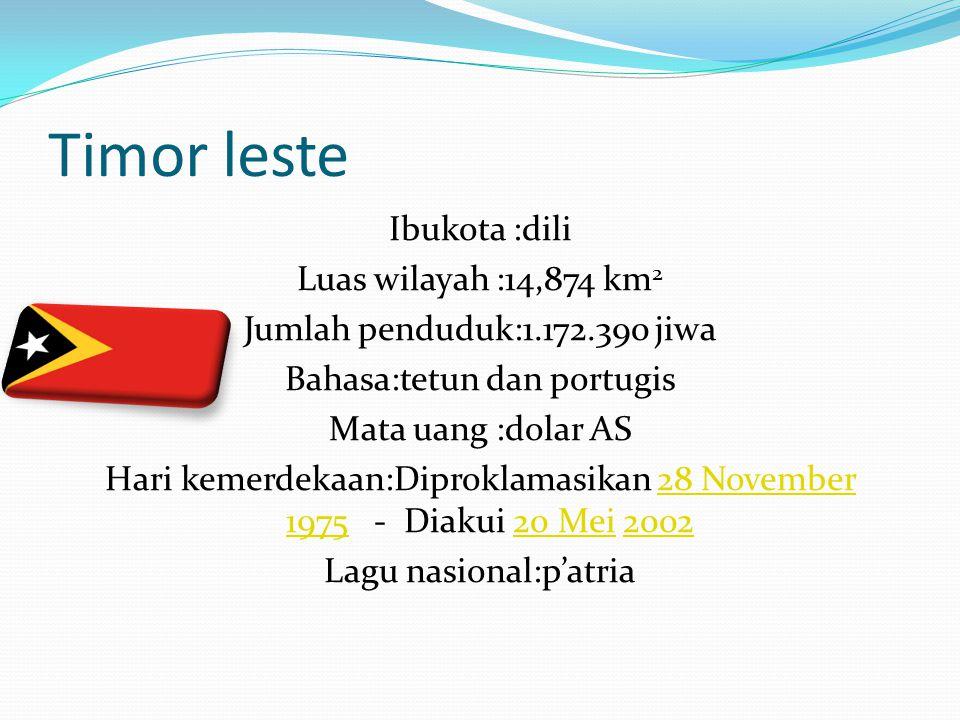 Timor leste Ibukota :dili Luas wilayah :14,874 km 2 Jumlah penduduk:1.172.390 jiwa Bahasa:tetun dan portugis Mata uang :dolar AS Hari kemerdekaan:Dipr