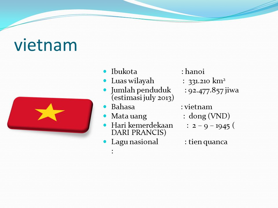 vietnam Ibukota : hanoi Luas wilayah : 331.210 km 2 Jumlah penduduk : 92.477.857 jiwa (estimasi july 2013) Bahasa : vietnam Mata uang : dong (VND) Har