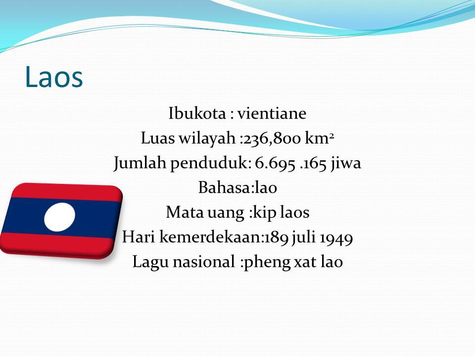 Laos Ibukota : vientiane Luas wilayah :236,800 km 2 Jumlah penduduk: 6.695.165 jiwa Bahasa:lao Mata uang :kip laos Hari kemerdekaan:189 juli 1949 Lagu