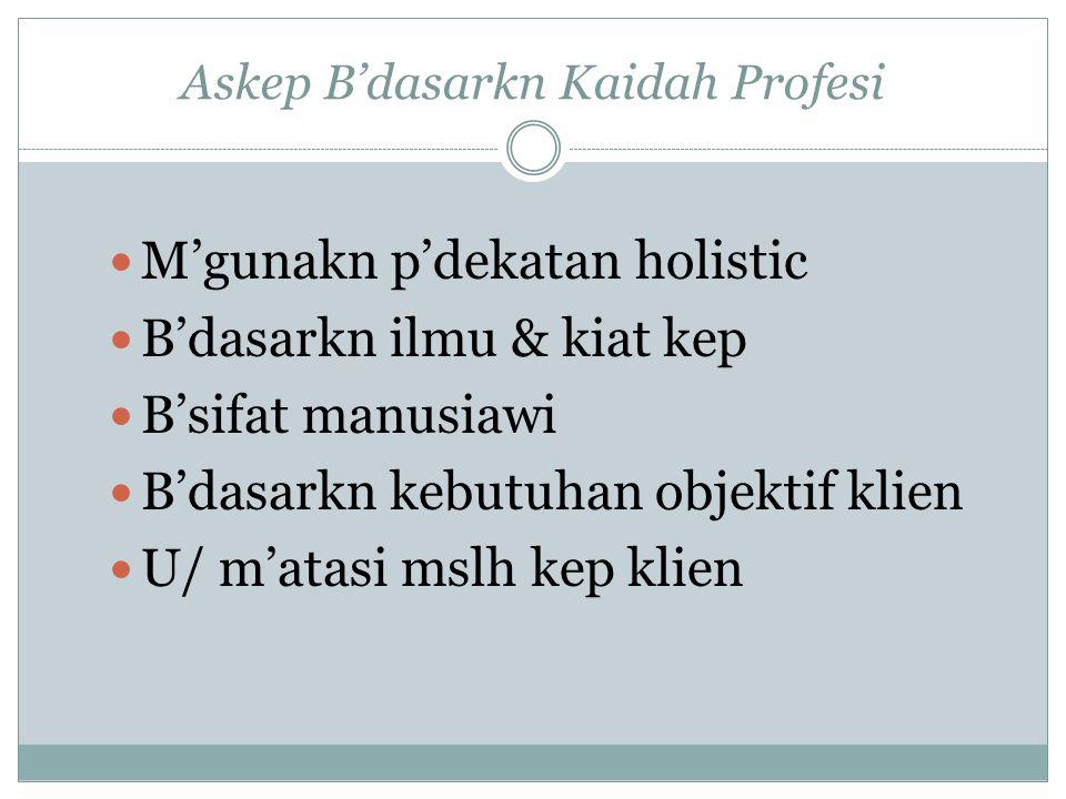 Askep B'dasarkn Kaidah Profesi M'gunakn p'dekatan holistic B'dasarkn ilmu & kiat kep B'sifat manusiawi B'dasarkn kebutuhan objektif klien U/ m'atasi mslh kep klien