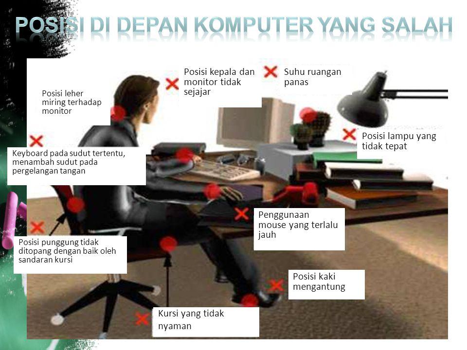Posisi leher miring terhadap monitor Keyboard pada sudut tertentu, menambah sudut pada pergelangan tangan Posisi punggung tidak ditopang dengan baik o