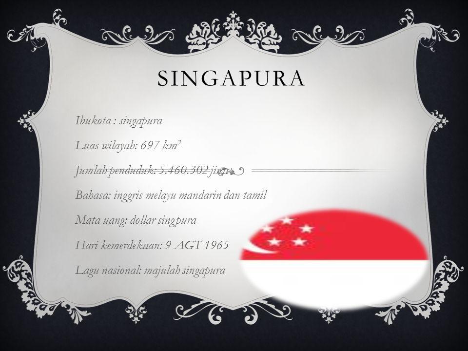 SINGAPURA Ibukota : singapura Luas wilayah: 697 km 2 Jumlah penduduk: 5.460.302 jiwa Bahasa: inggris melayu mandarin dan tamil Mata uang: dollar singp