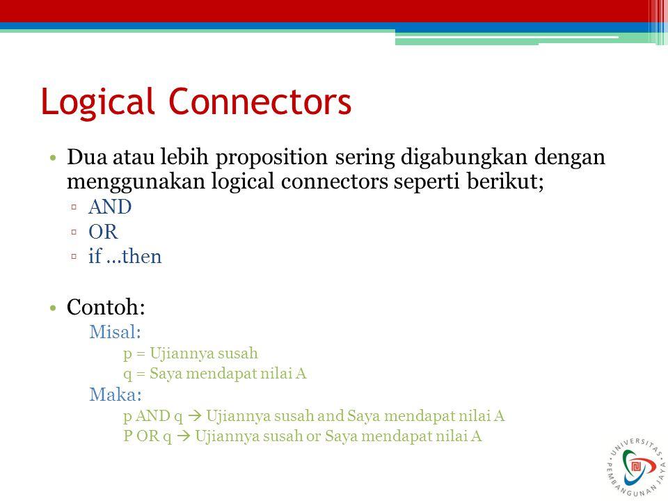Logical Connectors Dua atau lebih proposition sering digabungkan dengan menggunakan logical connectors seperti berikut; ▫AND ▫OR ▫if …then Contoh: Mis