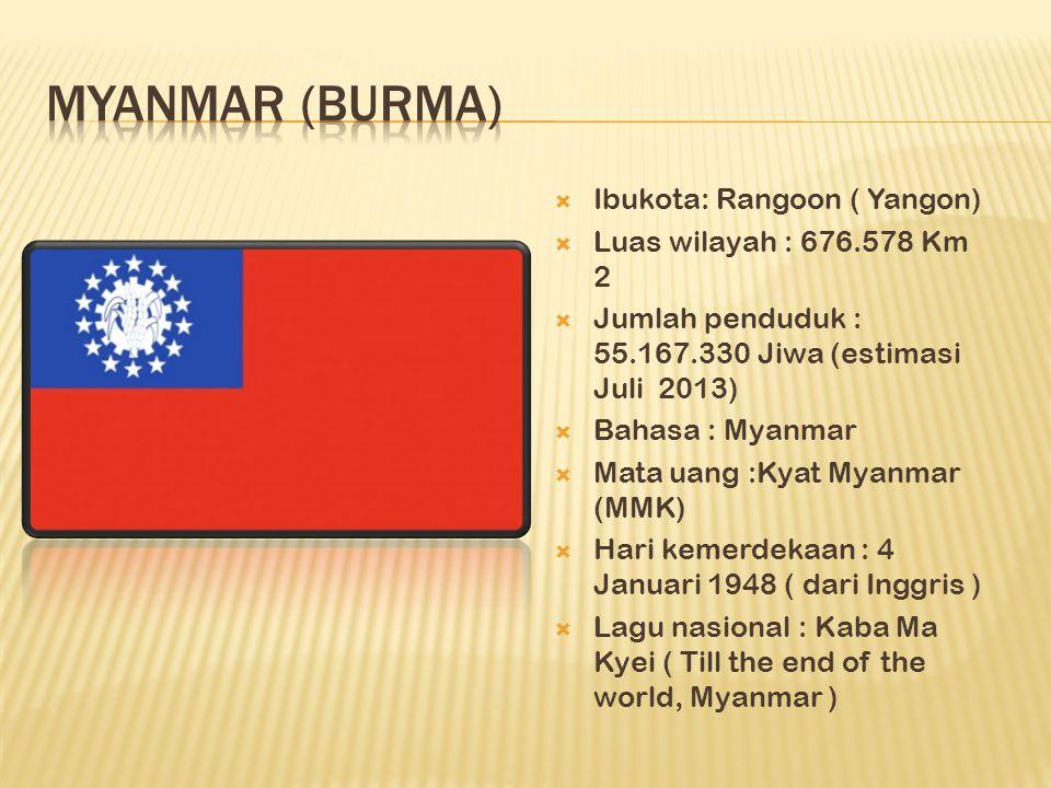  Ibukota: Rangoon ( Yangon)  Luas wilayah : 676.578 Km 2  Jumlah penduduk : 55.167.330 Jiwa (estimasi Juli 2013)  Bahasa : Myanmar  Mata uang :Kyat Myanmar (MMK)  Hari kemerdekaan : 4 Januari 1948 ( dari Inggris )  Lagu nasional : Kaba Ma Kyei ( Till the end of the world, Myanmar )