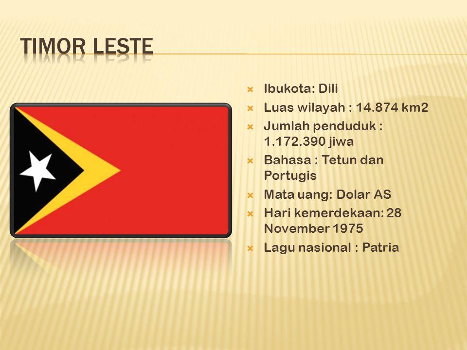  Ibukota: Dili  Luas wilayah : 14.874 km2  Jumlah penduduk : 1.172.390 jiwa  Bahasa : Tetun dan Portugis  Mata uang: Dolar AS  Hari kemerdekaan: 28 November 1975  Lagu nasional : Patria