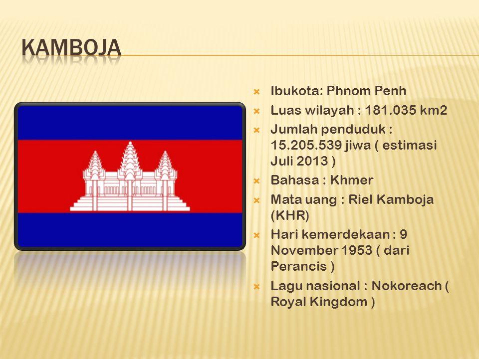  Ibukota: Phnom Penh  Luas wilayah : 181.035 km2  Jumlah penduduk : 15.205.539 jiwa ( estimasi Juli 2013 )  Bahasa : Khmer  Mata uang : Riel Kamboja (KHR)  Hari kemerdekaan : 9 November 1953 ( dari Perancis )  Lagu nasional : Nokoreach ( Royal Kingdom )