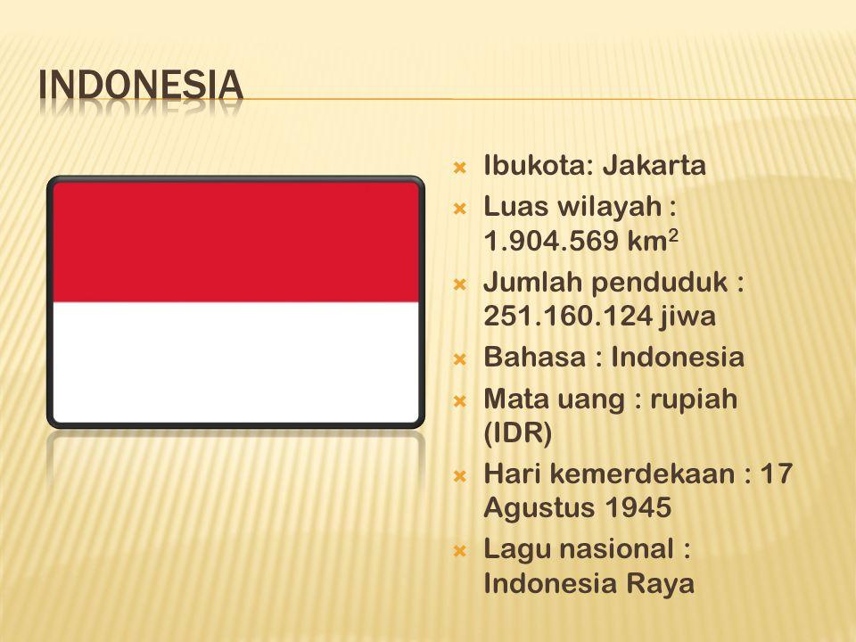  Ibukota: Jakarta  Luas wilayah : 1.904.569 km 2  Jumlah penduduk : 251.160.124 jiwa  Bahasa : Indonesia  Mata uang : rupiah (IDR)  Hari kemerdekaan : 17 Agustus 1945  Lagu nasional : Indonesia Raya