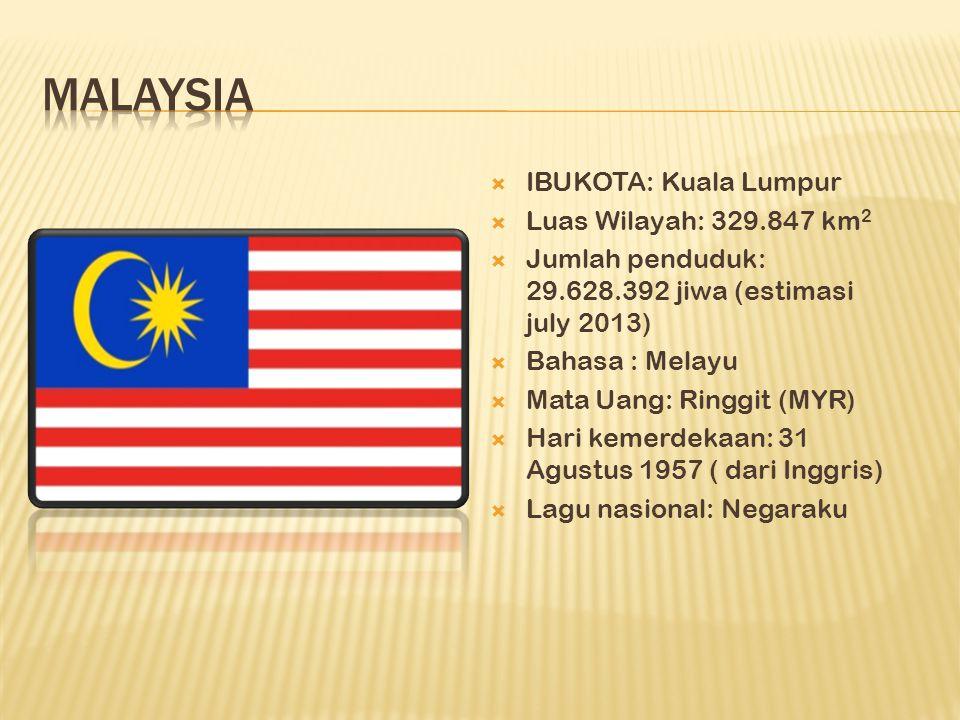  IBUKOTA: Kuala Lumpur  Luas Wilayah: 329.847 km 2  Jumlah penduduk: 29.628.392 jiwa (estimasi july 2013)  Bahasa : Melayu  Mata Uang: Ringgit (M