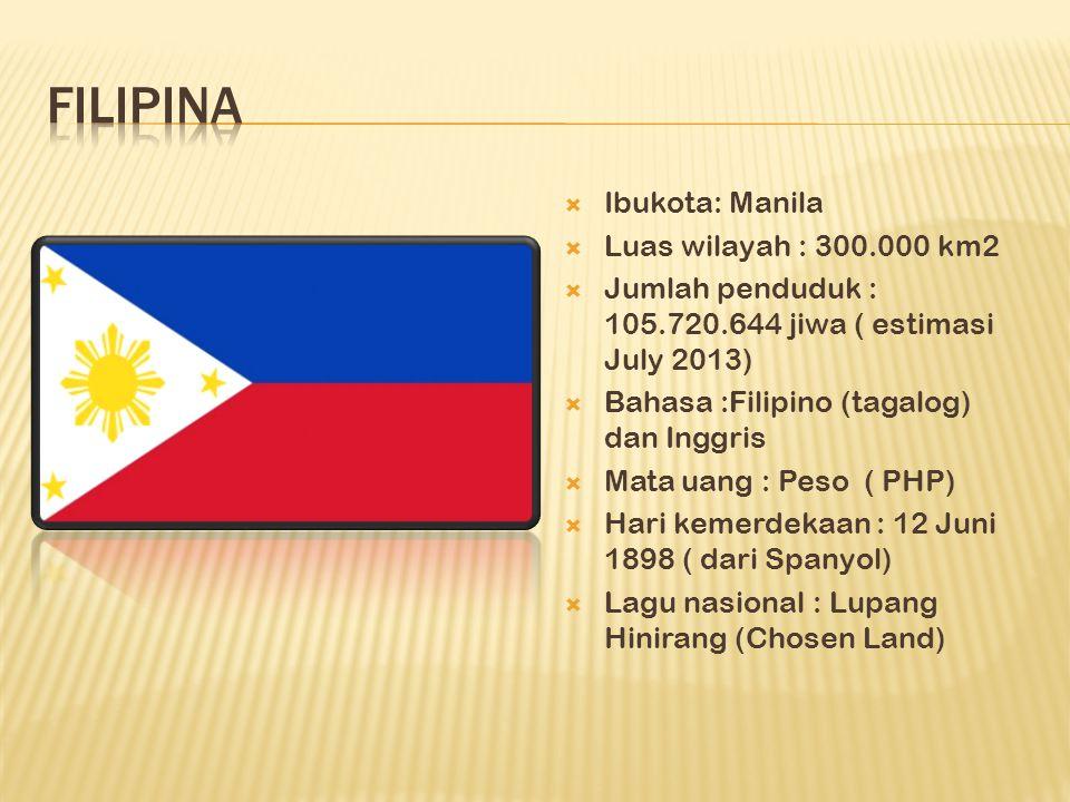  Ibukota: Manila  Luas wilayah : 300.000 km2  Jumlah penduduk : 105.720.644 jiwa ( estimasi July 2013)  Bahasa :Filipino (tagalog) dan Inggris  Mata uang : Peso ( PHP)  Hari kemerdekaan : 12 Juni 1898 ( dari Spanyol)  Lagu nasional : Lupang Hinirang (Chosen Land)