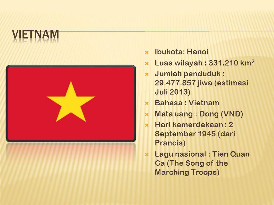  Ibukota: Hanoi  Luas wilayah : 331.210 km 2  Jumlah penduduk : 29.477.857 jiwa (estimasi Juli 2013)  Bahasa : Vietnam  Mata uang : Dong (VND)  Hari kemerdekaan : 2 September 1945 (dari Prancis)  Lagu nasional : Tien Quan Ca (The Song of the Marching Troops)