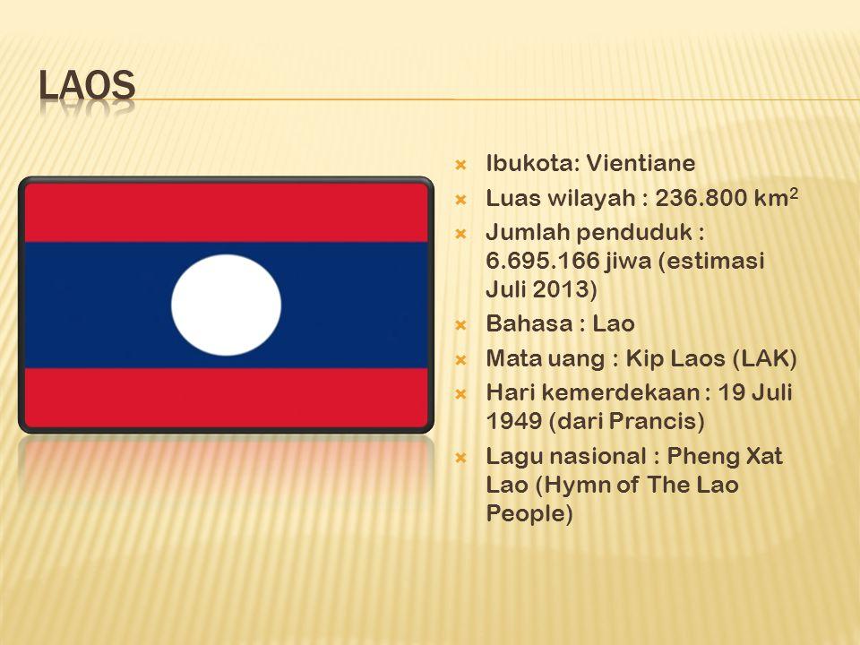  Ibukota: Vientiane  Luas wilayah : 236.800 km 2  Jumlah penduduk : 6.695.166 jiwa (estimasi Juli 2013)  Bahasa : Lao  Mata uang : Kip Laos (LAK)