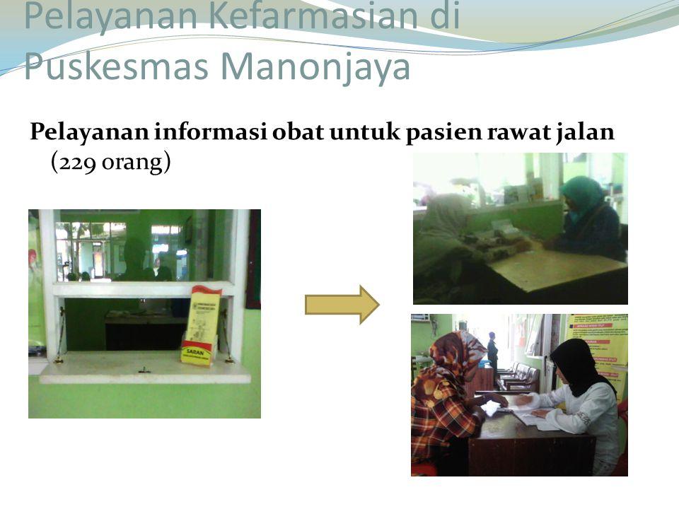 Pelayanan informasi obat untuk pasien rawat jalan (229 orang) Pelayanan Kefarmasian di Puskesmas Manonjaya