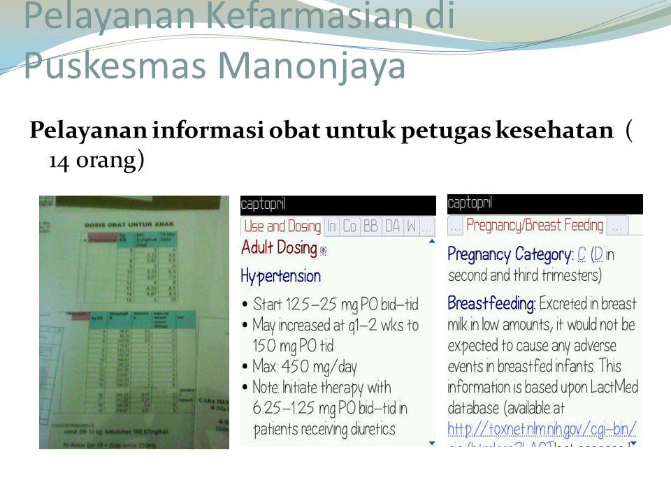 Pelayanan informasi obat untuk petugas kesehatan ( 14 0rang)