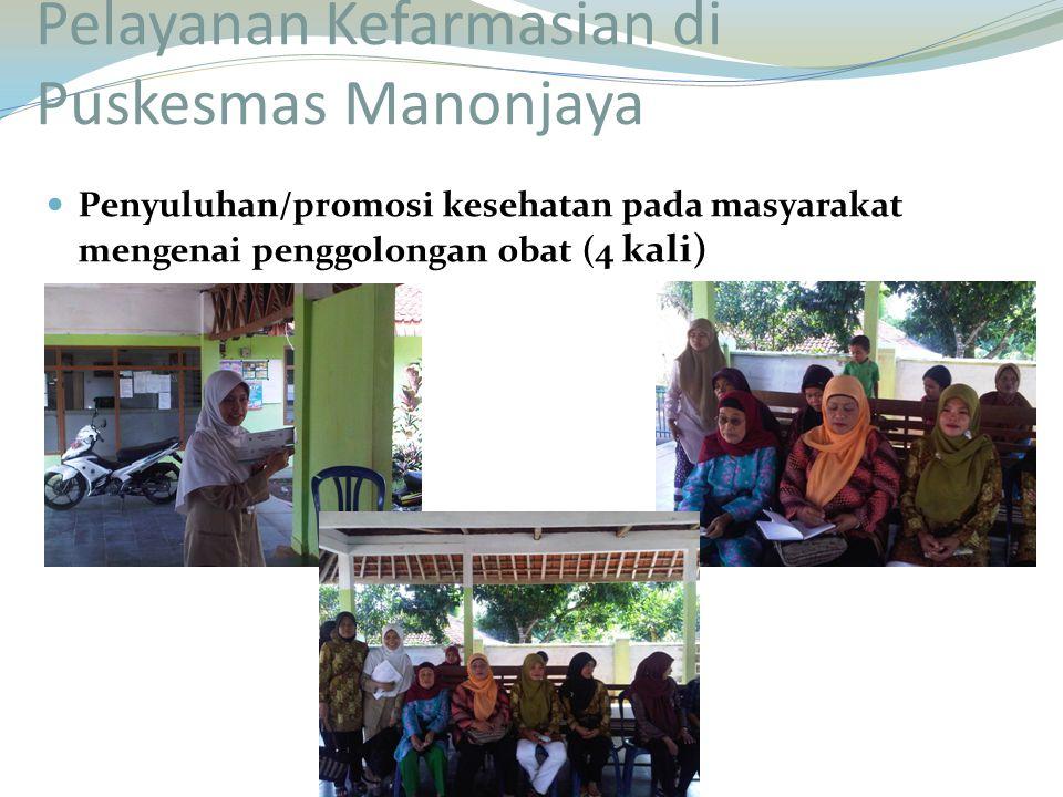 Penyuluhan/promosi kesehatan pada masyarakat mengenai penggolongan obat (4 kali)
