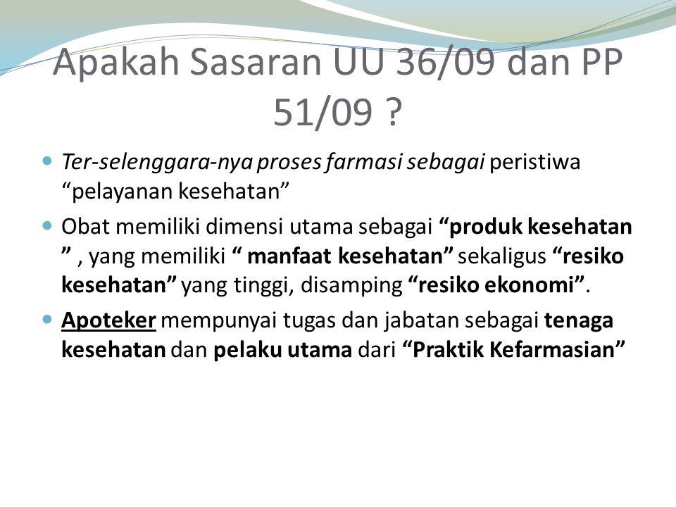 Apakah Sasaran UU 36/09 dan PP 51/09 .